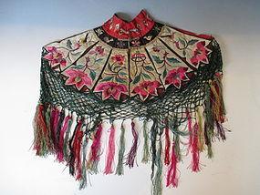 Antique Chinese Silk Child's Shawl Collar