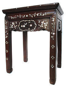 Antique Chinese Hardwood and Inlaid Table