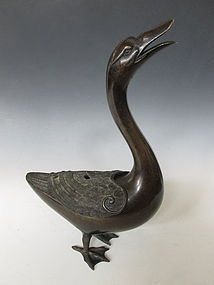 Antique Chinese Bronze Goose Incensor