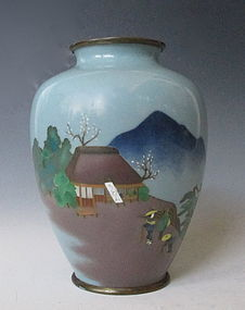 Japanese CLoisonne Vase with Traveling scene
