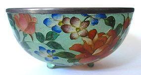Japanese Plique-a-jour Bowl with Flowers