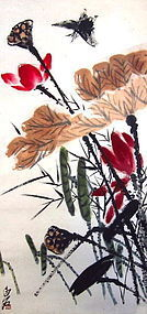 Chinese Hanging Scroll of Lotuses Qi Baishi