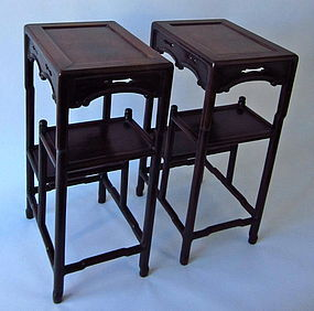Chinese rosewood tiered stands