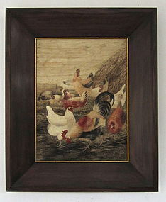 Antique Japanese Framed Embroidery of Chickens