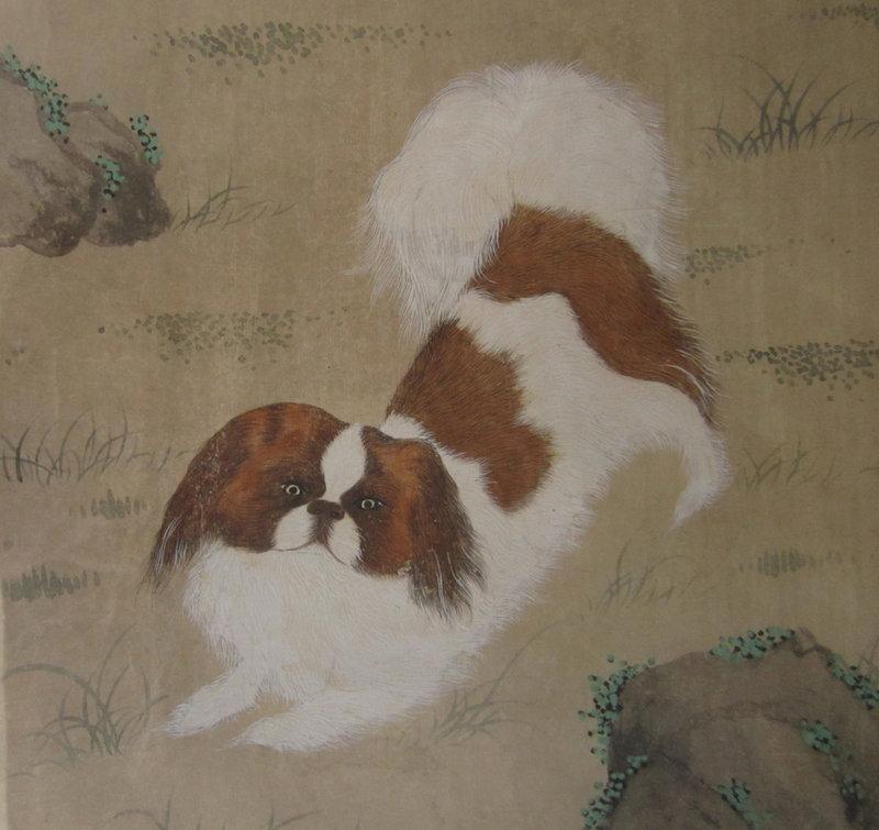 Chinese Antique Painting of a Pekingese Dog
