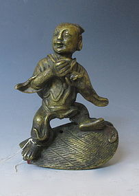 Antique Chinese Bronze Incensor Cover of Child