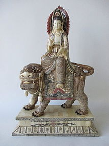 Chinese Bone Carving of Kwan Yin and Fu Dog