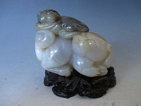 Chinese Agate Carving of a Tiger and Cub