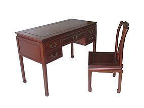 Chinese Hardwood Desk and Chair