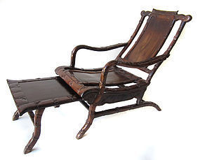 Chinese Antique Pair of Hardwood Moon Viewing Chairs