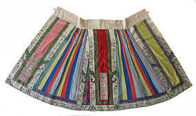 Chinese Antique Colorful Silk Pleated Skirt
