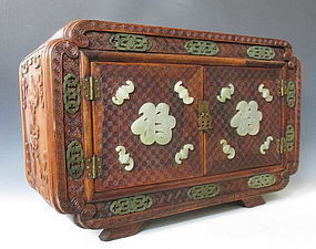 Chinese Carved Hardwood Box with Inlaid Jade