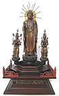 Japanese Amida Buddha Triad Statue