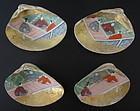 Japanese Antique Set of Four Painted Kaiawase Shells