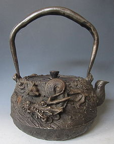 Japanese Antique Iron Tetsubin with Dragon