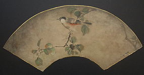 Japanese Fan Painting of a Bird