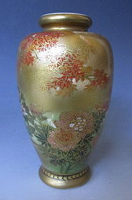 Pair of Small Satsuma Vases Depicting Autumn Scene
