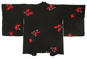 Japanese Haori Coat in Black and Red