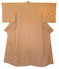 Japanese Peach Colored Silk Kimono with Flowers