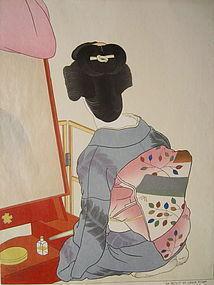 """Paul Jacoulet print, """"Le Miroir de Laque Rouge,  Tokyo"""""""