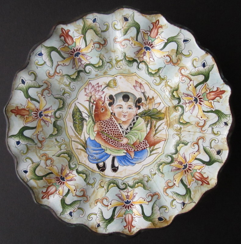 Chinese Enamel Painted Plate with Boy and Fish