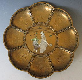 Meiji Period Eight Lobed Lacquered Dish