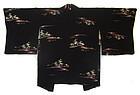 Japanese Black Silk Haori Jacket with Painted Trees