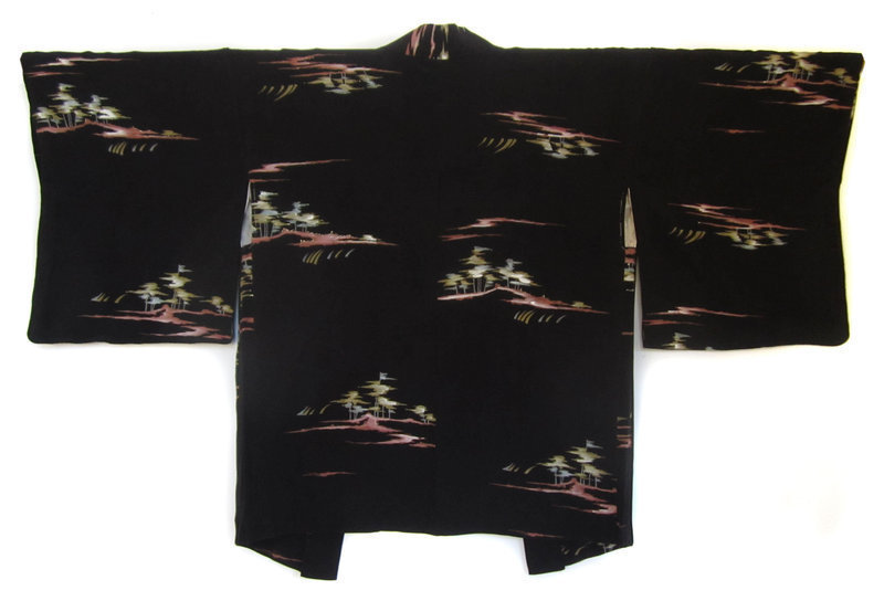 Japanese Black Silk Haori Jacket with Painted Trees