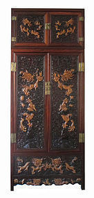 Chinese Large Carved Hardwood Dragon Cabinet