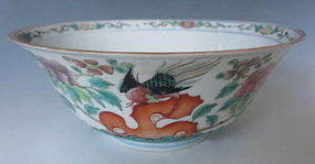 Chinese Antique Porcelain Bowl with Birds and Flowers