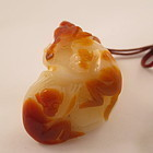 Chinese Agate Monkeys and Peaches Toggle Carving
