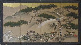 Antique Japanese Four Panel Folding Screen