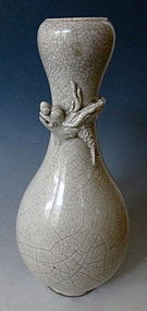 Chinese White Crackle Ceramic Vase with Chimera