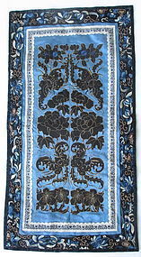 Chinese Silk Embroidered Panel With Black Butterflies
