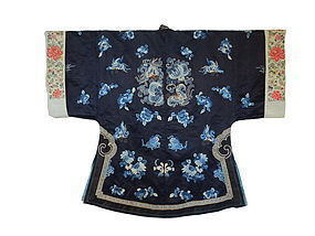 Chinese Antique Silk Robe With Blue Butterflies