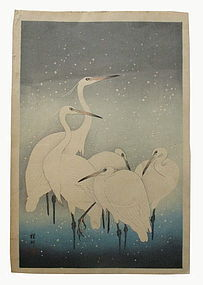 Japanese Woodblock Print of Herons By Ohara Koson