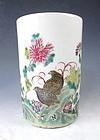Antique Famille Rose Porcelain Brush Pot With Quails