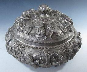 Burmese Repousse Silver Vessel