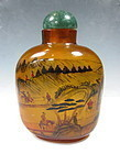 Hand-Painted Glass Snuff Bottle With Agate Topper