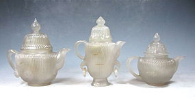 Antique Chinese Set Of Carved Agate Teapots
