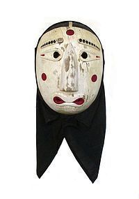 Korean Hand-Carved Wooden Somu Dance Mask