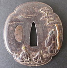 Antique Japanese Inlaid Iron Tsuba
