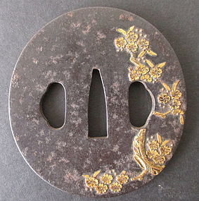 Antique Japanese Cherry Blossom Iron Tsuba