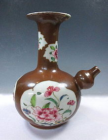 Antique Chinese Brown Porcelain Vase With Flowers