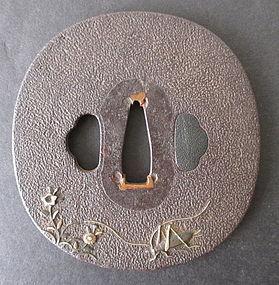 Antique Japanese Iron Tsuba with Autumn Motif