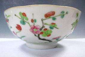 Antique Chinese Porcelain Bowl With Flowers And Berries