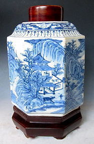 Chinese Ming Blue and White Tea Caddy