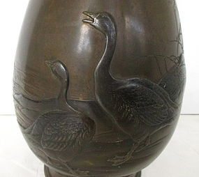 Antique Japanese Bronze Mixed Metal Vase With Geese