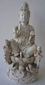 Chinese Blanc de Chine Seated Kwan Yin