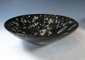 Chinese Ceramic Bowl With Oil Spot Glazing